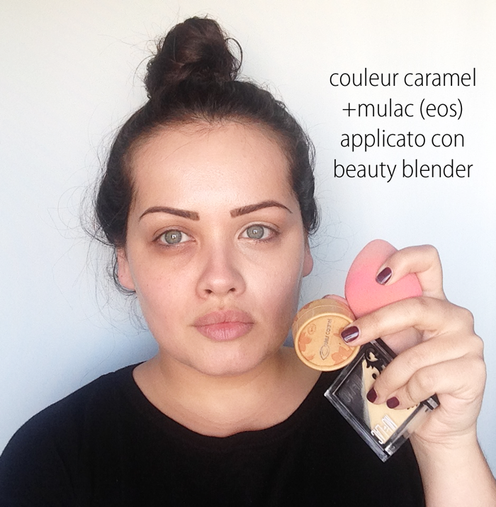 COULEUR CARAMEL 08 + beauty blender + mulac eos